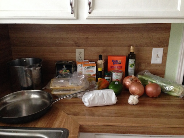 Ingredients about to become jambalaya!