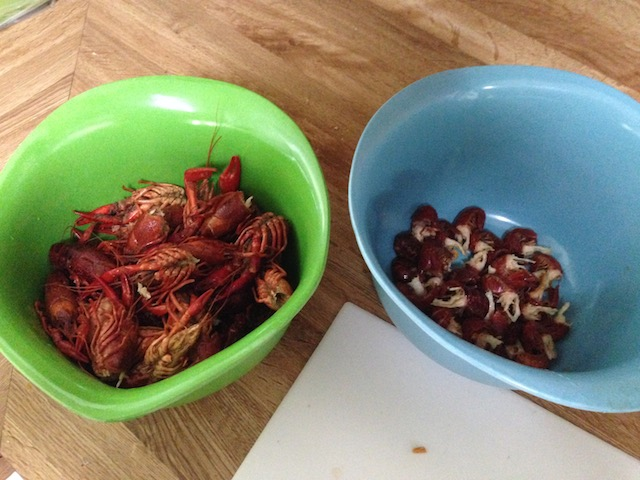 Left: crawfish heads. Right: crawfish tails.
